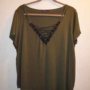 Green & Black Lace Front/Cutout Tee